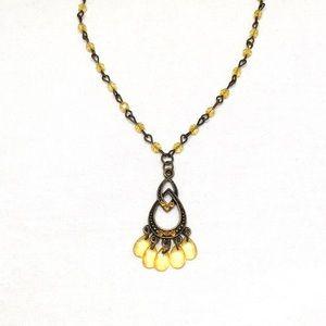 Jewelry - Vintage Gold Bead & Rhinestone Dangle Necklace